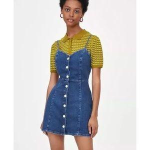 Zara Mini Jean Strap Bodycon Dress size S